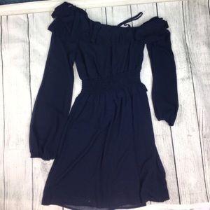 Dresses - Chic midnight blue chiffon dress